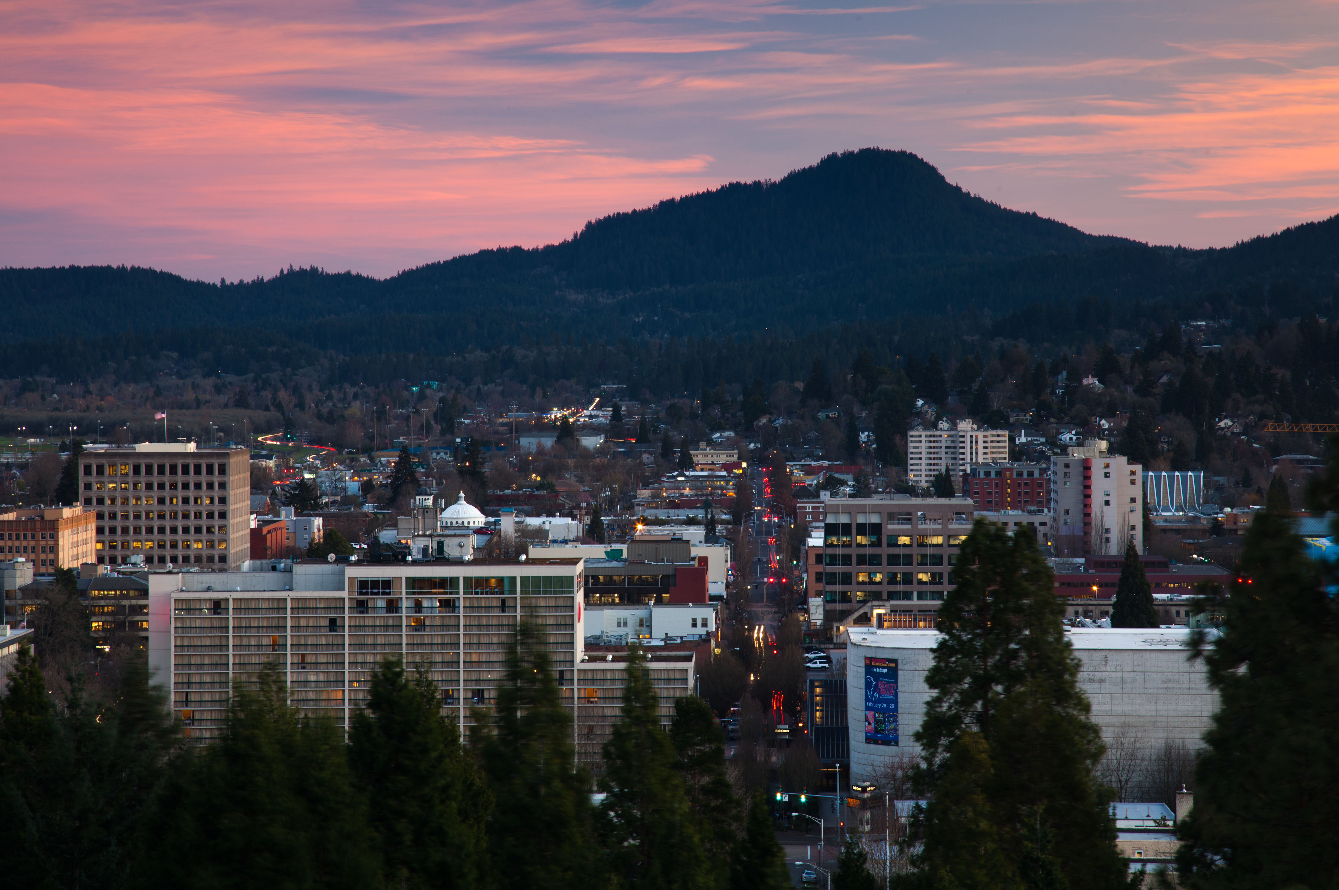 Eugene Cityscape at Dusk by Jeff Green